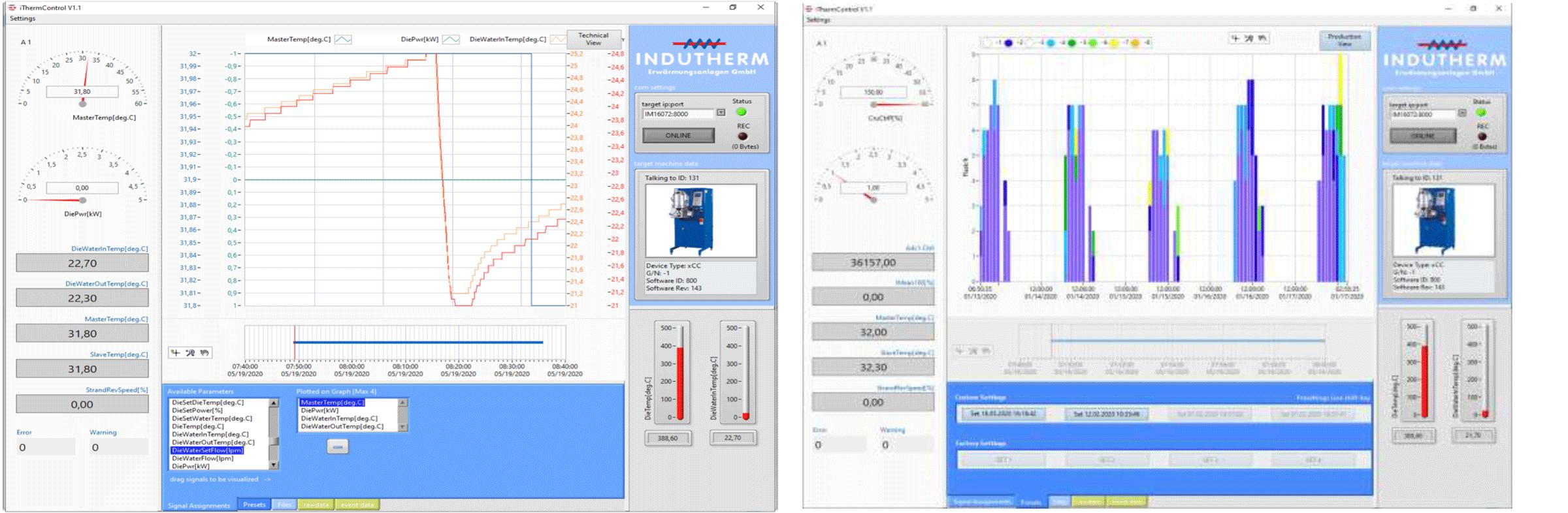 iTherm Control Kontrolle und Analyse Gießprozess, Gießanlagendaten, Fernsteuerung